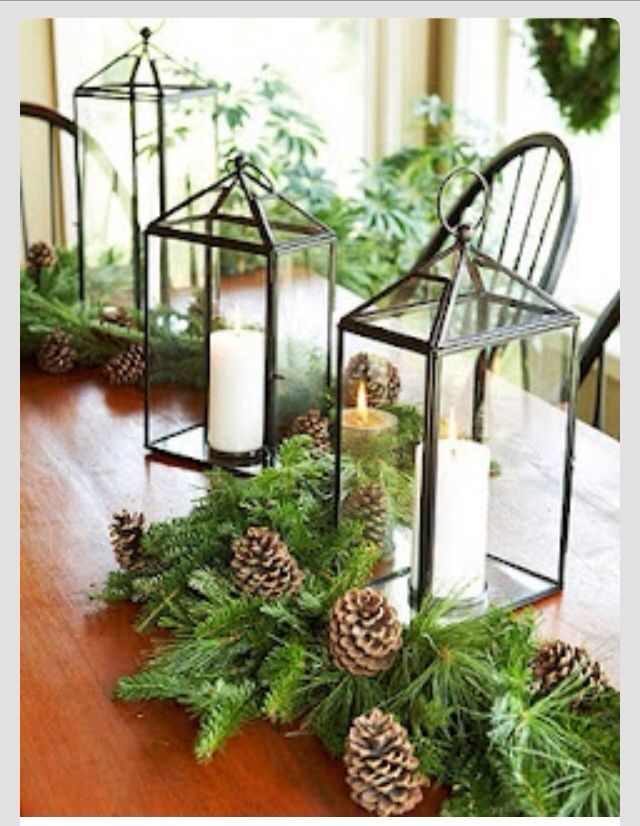 Winter wedding center piece. With a yummy flavored candle. Would smell so good in the reception hall!!