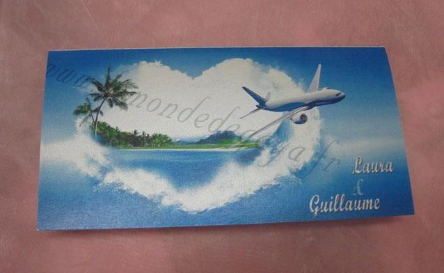 Faire-part de mariage billet d'avion sur le thème des iles et du turquoise