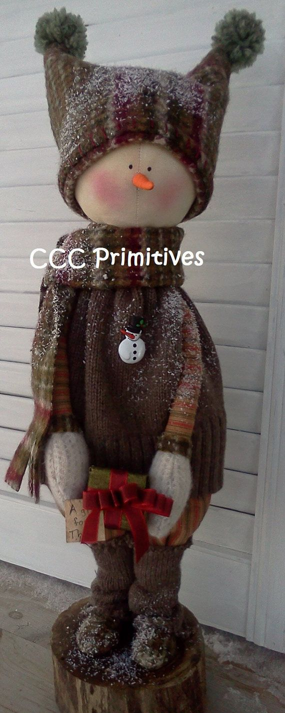 love the hat.....A Gift for Thee Primitive Snowman Handmade by CCCPrimitives, $58.00