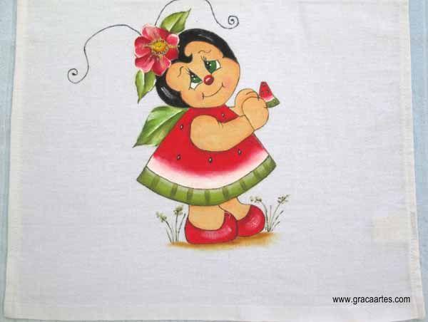 Joaninha Melancia Joaninha Desenho Pinturas Pintura Em Tecido
