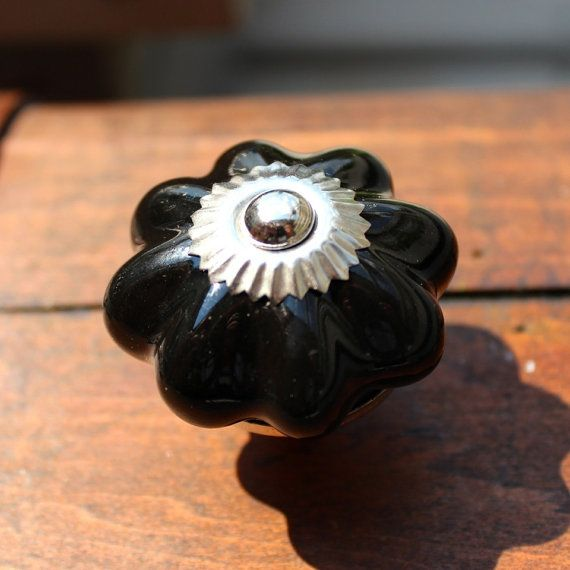 Drawer Knob / Cabinet Pull Ceramic Pumpkin in Black CK34 by DaRosa, $5.25