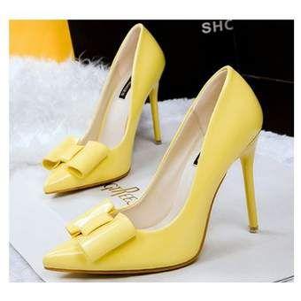 Compra zapatos de tacon estilo dulce y hermoso con nudo ojal de color amarillo online ✓ Encuentra los mejores productos Tacones fashion-cool en Linio México ✓