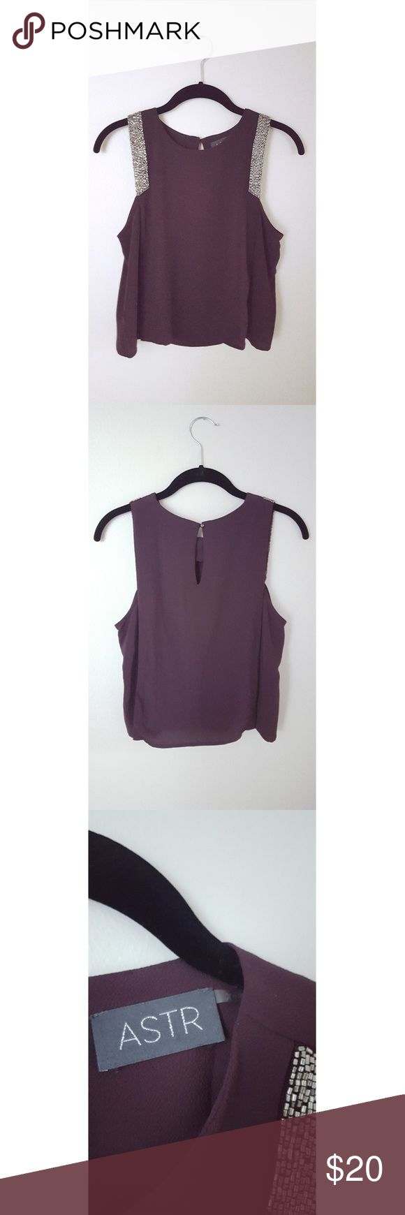 Nordstrom ASTR Embellished Tank Gently used dark purple with silver beaded accent on the shoulders (beads only on front). From a non smoking household.  100% Polyester Astr Tops Tank Tops