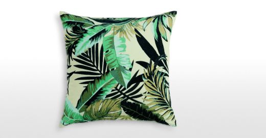 Jangala Velvet Cushion 50 x 50cm, Leaf Green | made.com