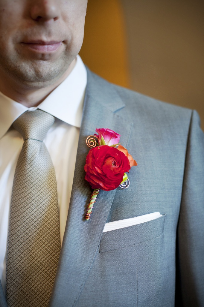 Boutonniere: red ranunculus, orange and hot pink spray roses, and wire accent: Colorful Boutonniere, Red Weddings, Ranunculus Boutonniere, Amazing Boutonniere, Pink Weddings, Bouquets, Wedding Flowers, Boutonniere Designs, Wire Accent