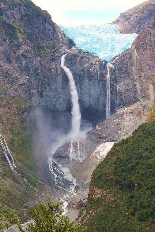 Magnificent hanging glacier along the Carretera Austral, Chile