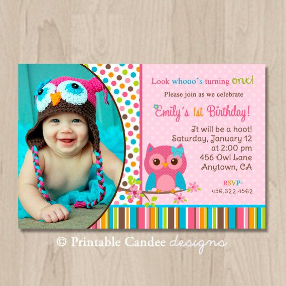 70 best Graceu0027s 1st Birthday images on Pinterest Owl parties - invitation card for ist birthday