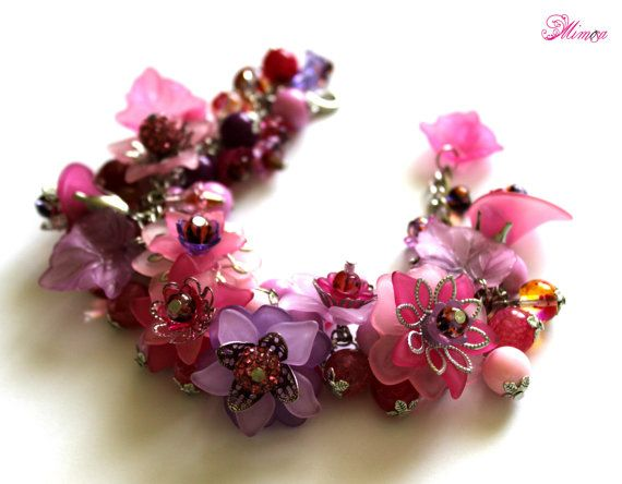 Fuchsia Bracelet Chunky Flower Bracelet by MimosaMilenaDobreva