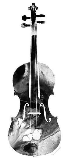 Black And White Violin Art By Sharon Cummings by Sharon Cummings #music #violin