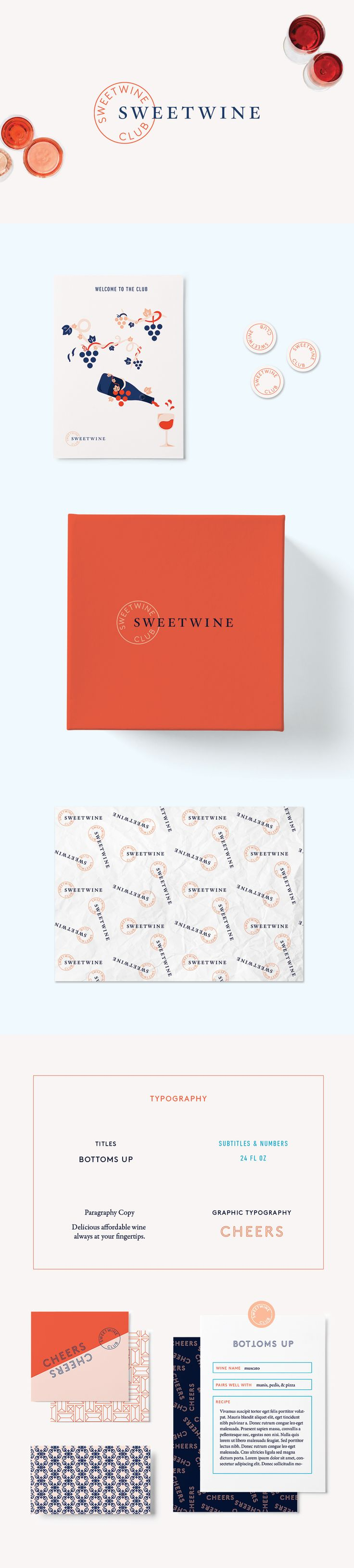 Sweetwine Club brand development and design by Little Trailer Studio. We worked with Sweetwine club launch their business and develop their brand so that they can position themselves in the wine club marketplace and attract their target customer.