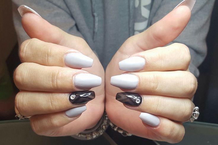 Matte grey & black coffin nails