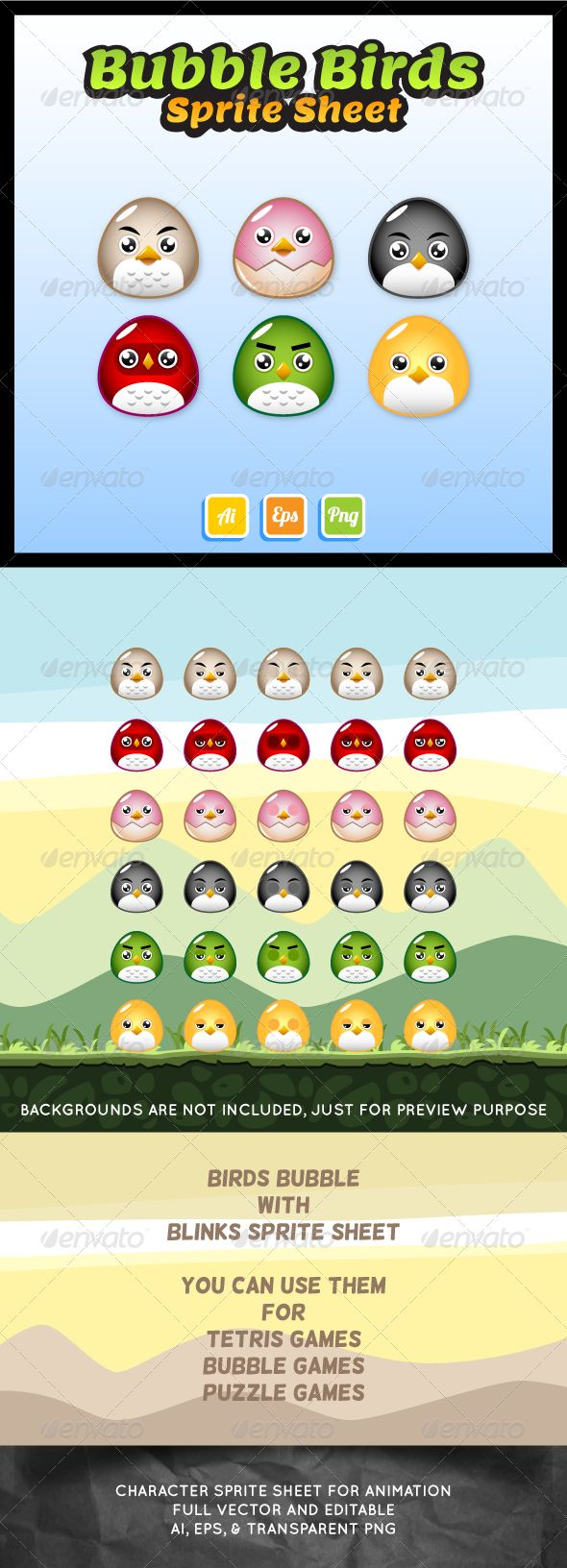 Bubble Birds Sprite Sheet — Vector EPS #sidescroller #puzzle • Available here → https://graphicriver.net/item/bubble-birds-sprite-sheet/7293217?ref=pxcr