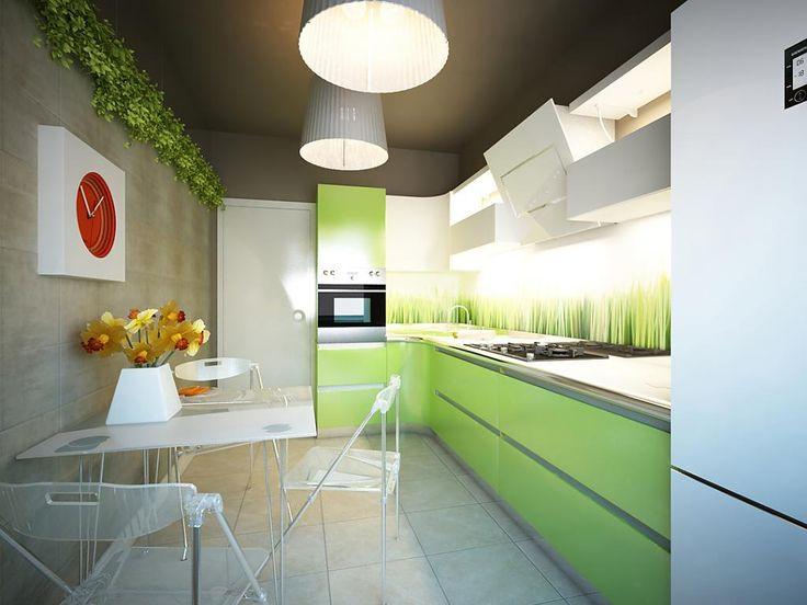 Кухня зеленая дизайн фото
