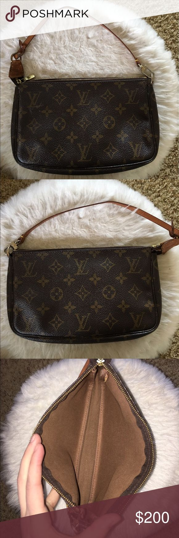 Authentic Monogram Pochette Accessories Clutch It's used aging color on the zipper. Super clean on the inside no bad odors or anything. No rips no scratches. Zipper works perfectly. Just discoloration. Super cute to go on dates. Strap is in really good condition. Please no offers it's already at a low price ❌❌ Louis Vuitton Bags Clutches & Wristlets