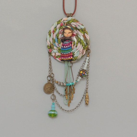 Upcycled Ethnic jewelry. Textile Necklace Dream catcher by ATLIART