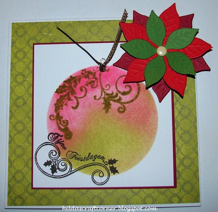 Van mijn blog (hildascraftcorner.blogspot) met Ranger Distress ink en de kerstroos van Marianne Design.