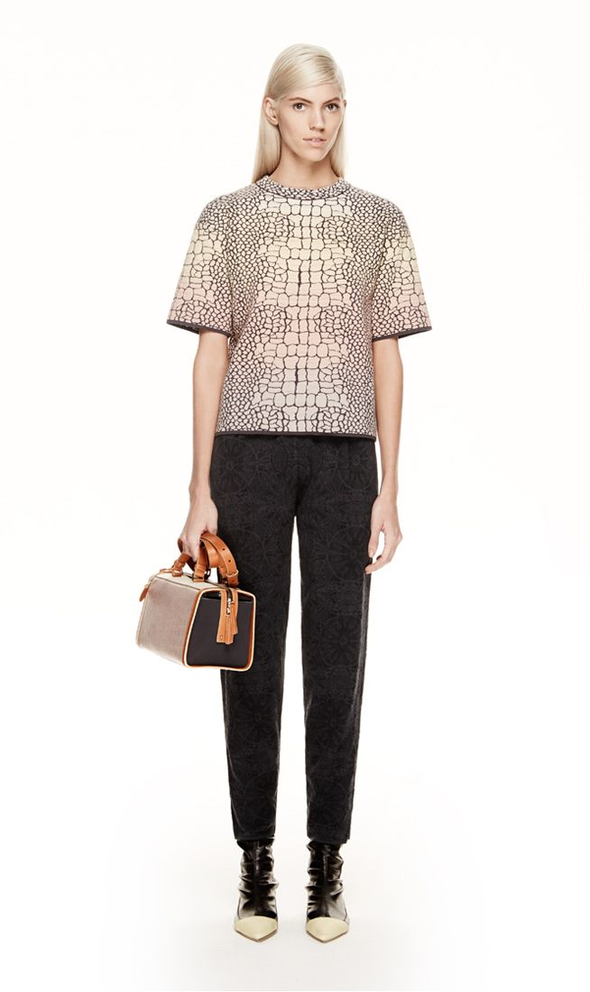 #MMissoni | MOCK-CROC JACQUARD KNIT TOP AND LACE MOTIF JACQUARD PANTS | Fall 2014 Collection