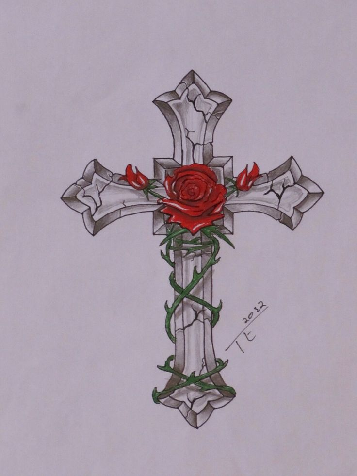 Cross with rose