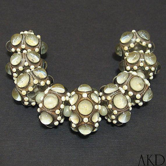 handmade lampwork bead set sra ooak ivory dot glass rounds opal baubles