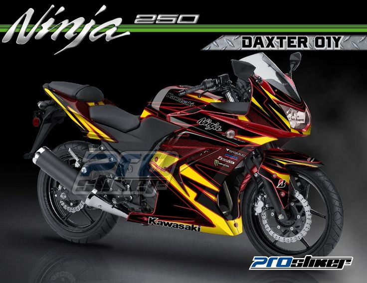 Striping Modifikasi Ninja 250 R Karbu Warna Merah Motif DAXTER 01Y Merah Kuning Prostiker