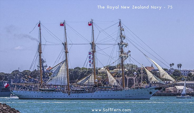 https://flic.kr/p/Yyn1Q8 | Esmeralda - steel-hulled four-masted barquentine tall ship raising sails. | The Royal New Zealand Navy – 75 Anniversary. From our archive.  softfern.com/NewsDtls.aspx?id=1137&catgry=15