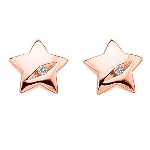 Stříbrné náušnice Hot Diamonds Shooting Stars Rose Gold