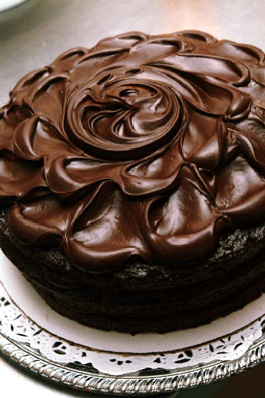Dark Chocolate Cake.  Frosting adjustments:  3 cups 10X sugar, 1/2 c half & half, 2/3 cup cocoa