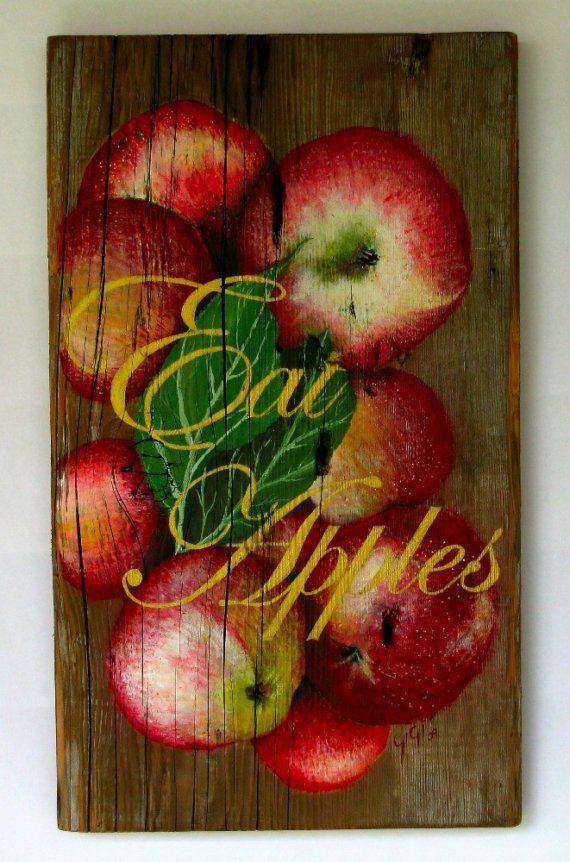 Apple painting Original acrylic painting on by johnandgigiathome, $275.00