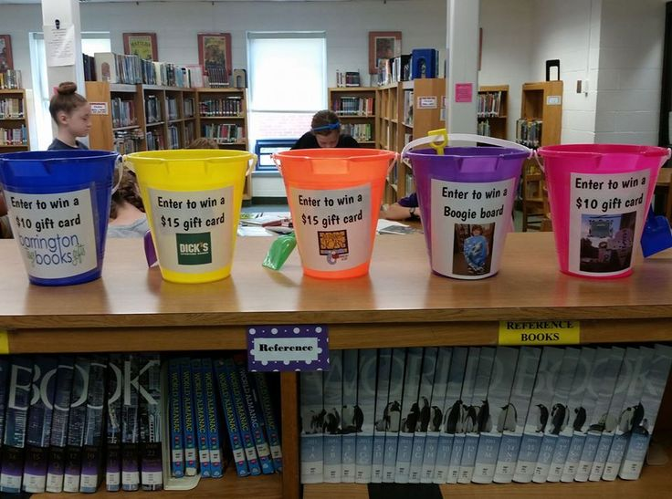 Every student with a clear library record at the end of the year gets a raffle ticket and chooses which bucket to put it in for a prize drawing!
