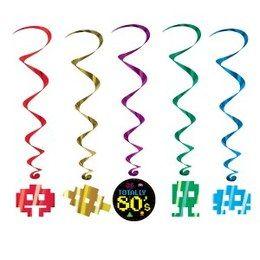 Hangdecoratie Whirls Eighties -  Een schitterende hangdecoratie met jaren 80 figuren. Vier uw feest in stijl. Lengte: 100cm.