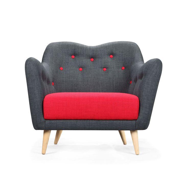 Poppy Buttons Armchair - Scandinavian Modern Living Collection - Dot & Bo