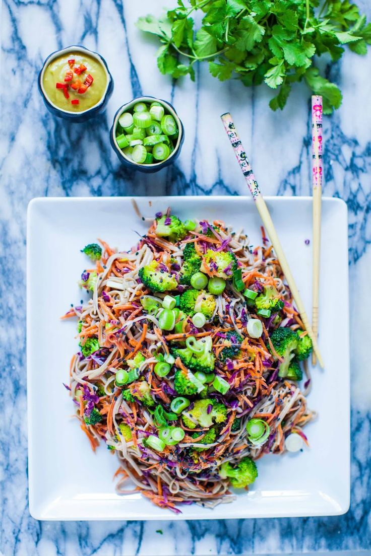 Hemsley + Hemsley share their recipe for healthy and gluten-free buckwheat noodles with broccoli and avocado miso sauce