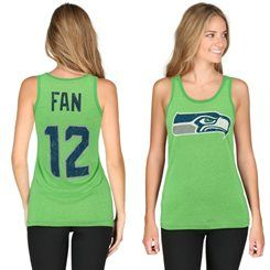 Women's Seattle Seahawks 12th Fan Majestic Threads Neon Green Primary Logo Name & Number Tank Top