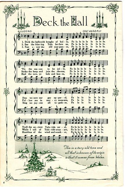 ♥ Sheet Music Printables for gift wrapping, or DIY Paper Projects .... Deck the Hall by raidensgrammie21, via Flickr