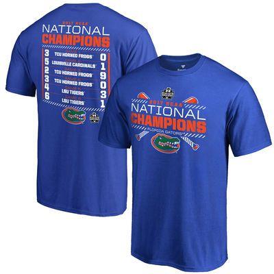 Florida Gators Fanatics Branded 2017 NCAA Men's Baseball College World Series National Champions Line Drive Schedule T-Shirt - Royal