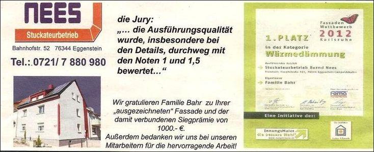 Unser Stuckateurpartner Bernd Nees aus Eggenstein, gewinnt den 1. Platz beim Fassadenwettberb der Stadt Karlsruhe