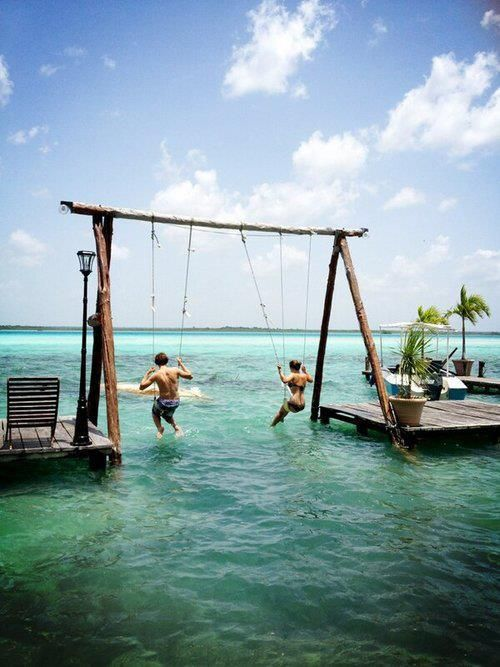 Sea Swing in Bacalar Lagoon Resort in Mexico