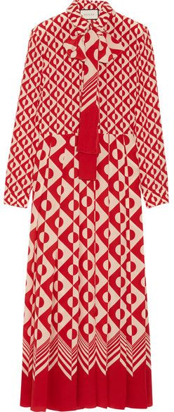 Gucci - Printed Silk Crepe De Chine Midi Dress - Brick #Gucci