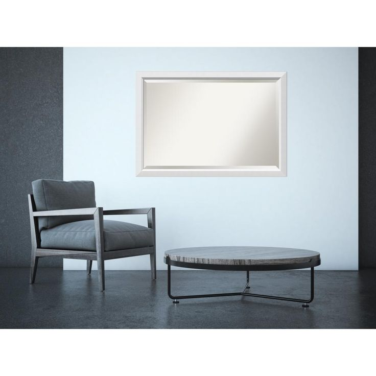 Blanco White Wood 39 in. x 27 in. Contemporary Framed Mirror