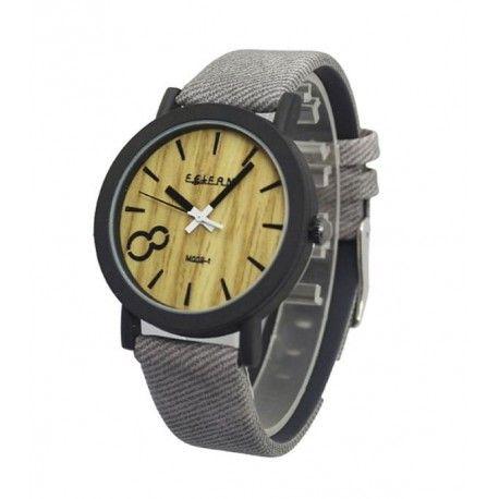 Wood Watch Herenhorloge  Tijd vooriets bijzonders. Wat dacht je van dit Wood Watch GreyHeren Horloge? Stijlvolle uitstraling, grijs stoffen bandje, wijzerplaat uitgevoerd met opvallende hout lookwat het horloge een zeer speciale uitstraling geeft. Spatwaterdicht uitgevoerd, ook in zwart of bruin leverbaar (gewenste kleur aub doorgeven bij bestellen)