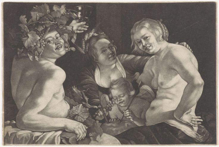 Anonymous   Bacchus met Venus, Amor en Ceres (Sine Cerere et Baccho friget Venus), Anonymous, 1650 - 1800   Venus en Amor worden vergezeld door Bacchus, met opgeheven drinkschaal en wijnranken op het hoofd, en Ceres, met korenaren in het haar. Illustratie van het gezegde 'Sine Cerere et Baccho friget Venus' (zonder Ceres en Bacchus bevriest Venus), oftewel, zonder eten en wijn bevriest de liefde.