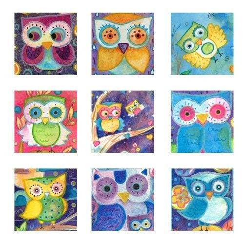 Digital Collage Sheet 1 Inch Square Owls by LaurenAlexander