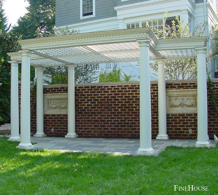 Pergola Ceiling Designs: Pergola With Coffered Trellis Ceiling, Crown And Dentil