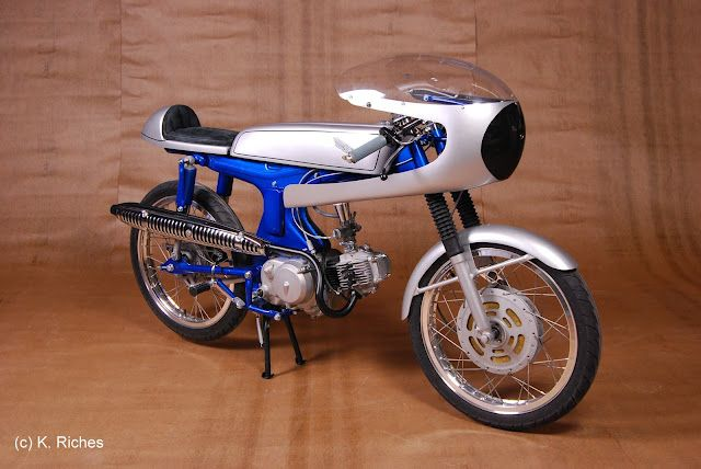 Hilarious Honda Cub Cafe Racer by Airtech Fairings - Top Speed, maybe 35mph?