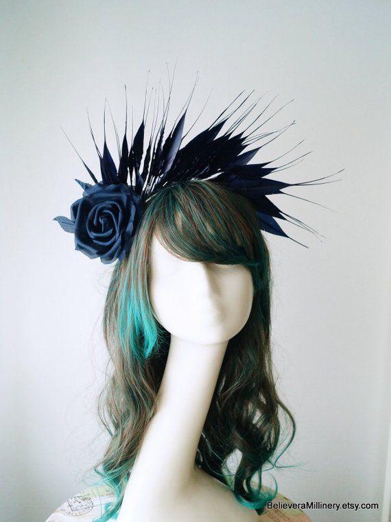 1 Melbourne Cup Spring Racing Carnival Headband Wedding Feather Fascinator BLACK