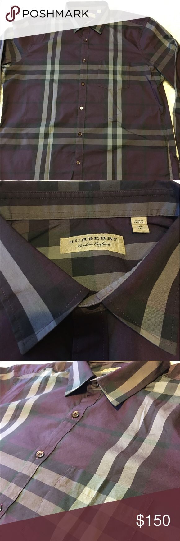 New burberry shirt for men XXL New without tags never worn burberry shirt for men size XXL purple color 100% cotton,Authentic, original price is 325$ Burberry Shirts Casual Button Down Shirts