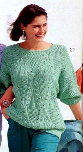 Мятный пуловер