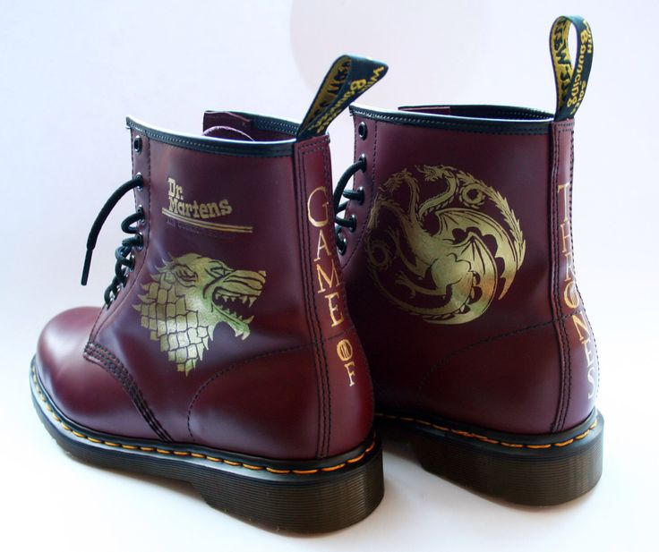 Custom Game of Thrones Dr Martens boots Docs shoes by PimpedMyStride on Etsy https://www.etsy.com/listing/254356378/custom-game-of-thrones-dr-martens-boots