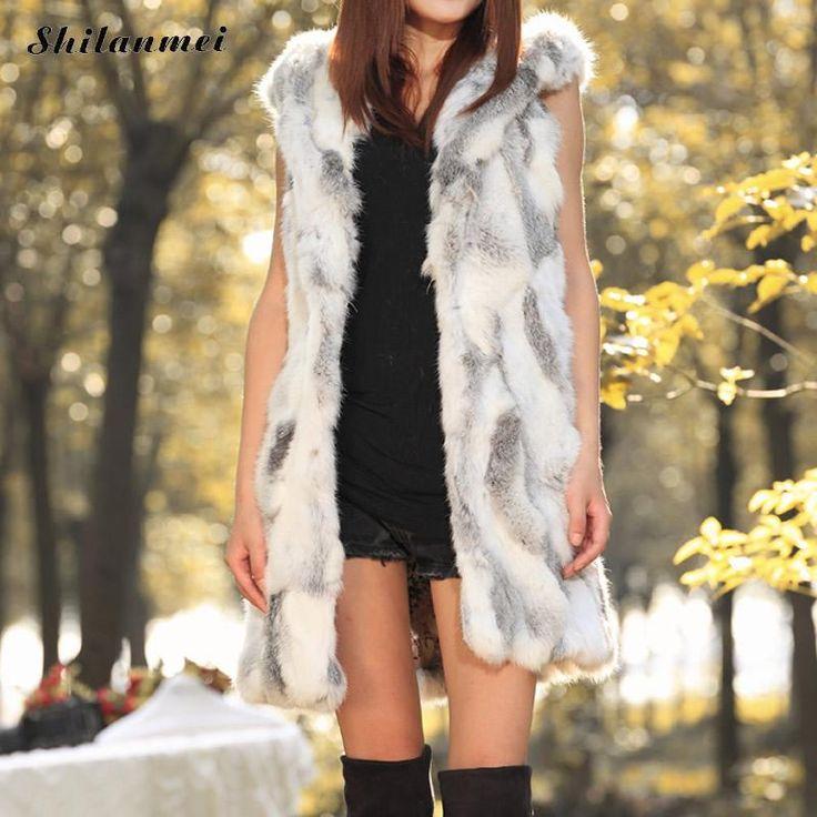 long vest women winter Warm Woman Faux Fur Vest Women Hooded with Belt Gray Long Jacket veste femme Plus Size chalecos mujer