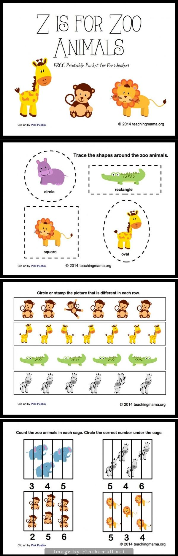 Z is for Zoo Animals! In this printable packet, there's practice on the following skills:      identifying letter z     tracing     counting     patterns     finding differences     tracing shapes     identifying zoo animals